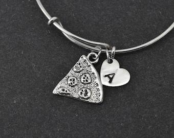 Pizza Bangle, Sterling Silver Bangle, Pizza Bracelet, Bridesmaid Gift, Personalized Bracelet, Charm Bangle, Initial Bracelet