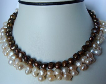 Freshwater Pearl Sterling Silver Double Choker or Long Necklace