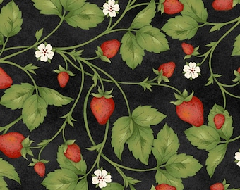 Strawberries From the Farm, Strawberries on Black, Quilting Cotton, 100% Cotton, by the half yard