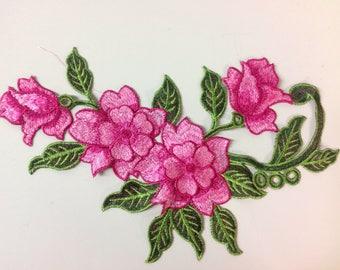 Pink rose flower embroidered appliqué