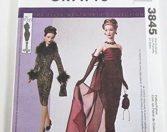 McCalls Sewing Pattern 3845 - Doll Clothes Pattern for 16 Inch Tonner Dolls - Evening Gown or Short Dress - Fits Tyler Wentworth Dolls