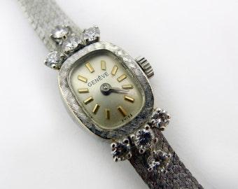 Vintage Ladies White Gold and Diamond Geneve Watch - 14 Karat