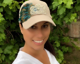 Women's Hats, Woman Cap, Feather Hat, Rhinestone Hat, Peacock Feather Hat, Soccer Mom Hat, Chemo Hat, Statement Hat, Ball Cap, Bad Hair Day