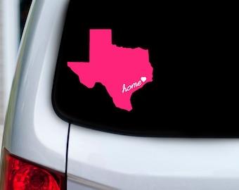 Texas Vinyl Car Decal With Home and Heart Over Your City  - Houston, Dallas, Austin, San Antonio, Waco, Ft. Worth, El Paso
