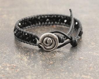 Snake Bracelet Silver Black Snake Jewelry Beaded Leather Wrap Bracelet
