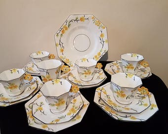 20 x Melba ware Flower handle tea service