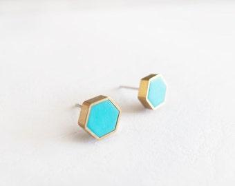 Turquoise Hexagon Stud Earrings - Hypoallergenic Surgical Steel Posts
