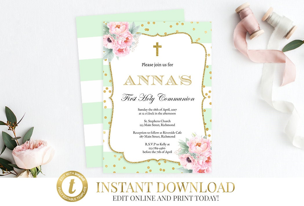 Instant download girls first communion invitation baptism instant download girls first communion invitation baptism invitation first holy communion printable communion invite christening invite solutioingenieria