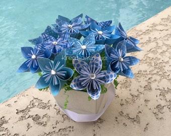 Ocean Breeze//  Kusudama Origami Flower Bouquet/flower Arrangement/ Wedding/ Bridal Shower/ Baby Shower/ Baby Shower/ Reception