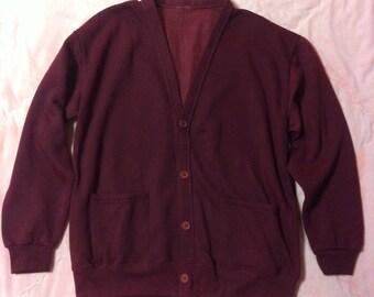 80s Vintage Burgundy Cardigan, Vintage Burgundy Wine Cardigan, Vintage Maroon Cardigan, Button Up Cardigan, Cardigan Sweater