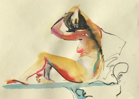 Nude painting- Original watercolor painting of Nude #1455 by Gretchen Kelly