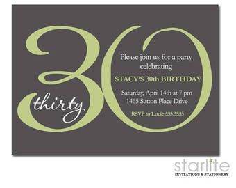 30th Birthday Invitation for Her, 30th Birthday Invitation for Women, 30th Birthday Invite Printable, Sage Green and Grey, Printed