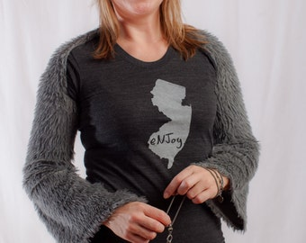 new jersey shirt, new jersey tshirt, graphic t, state pride, woman fashion t, gray tshirt, screen print, silkscreen, free shipping