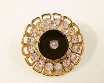Vintage Circle Pin, Vintage Jewelry, Rhinestone Jewelry, Vintage Brooch, Rhinestone Brooch, Gold Tone Filigree Brooch, Gold & Black Brooch
