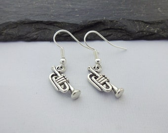Trumpet Earrings, Music Earrings, Music Jewellery, Charm Earrings, Trumpet Gift, Music Gift, Jewellery, Gifts, Jewelry, Musical
