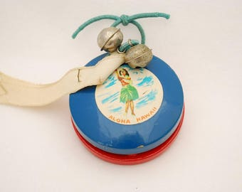 "Vintage Castanets 1950's ""Aloha Hawaii"" - Painted Wood Souvenir with Original Labels Intact"