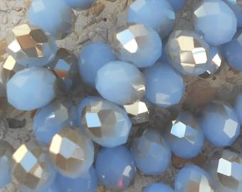Lot de 5 perles en verre bleu et gris