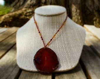SALE! 20% off! Geode slice pendant necklace