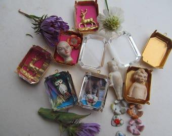 Crystal Keepsake Pendant, Miniature  Shadow Box, 1 pcs