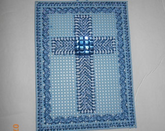 Religious, Crosses, Plastic canvas, wall hanging, 3 colors