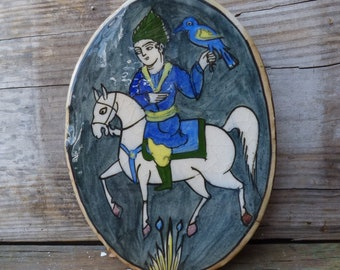Vintage Art Tile Pottery Earthenware Man on White Horse w/ bird oval Arts and Crafts