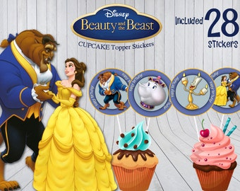 Beauty And The Beast Stickers, Birthday Party Decor, Toppers, Printable Cupcake Toppers, Instant Download