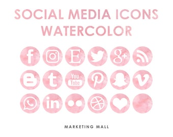 Pink Watercolor Social Media Icons, Social Media Buttons, Pink Social Icons, Blog Icons, Website Branding, Blog Buttons, Watercolor Icons
