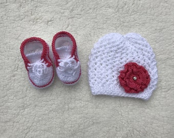 Handmade Knitted Baby Hat and Booties