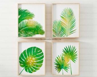 Ensemble imprimé palmiers tropicaux, Green Wall Art, Art mural Tropical, Palm Wall Art, décoration tropicale, ensemble de quatre