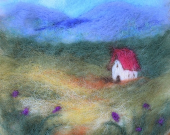 Red Roofed Cottage wet felted landscape