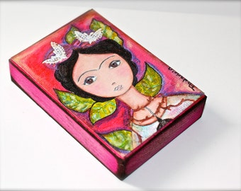 Frida with Thorns - Aceo Giclee print mounted on Wood (2.5 x 3.5 inches) Folk Art  by FLOR LARIOS
