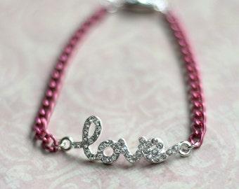 Pink Love Bracelet, Pave Word Bracelet, Pink Bracelet, Pave Jewelry, Love Jewelry, Pink Stacking bracelet, BFF Girlfriend Gift, SRAJD