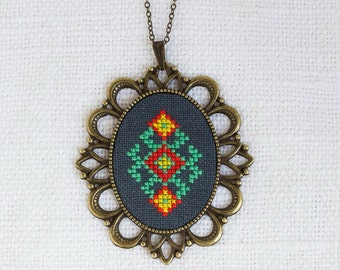 Cross stitch necklace with Ukrainian embroidery n067