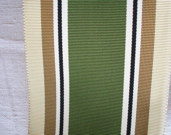 1 yd.french vintage ribbon stripe  in shades of  celadon, hunter,white,green golds  1940's
