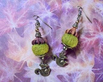 Acorn and Squirrel Earrings (2365)