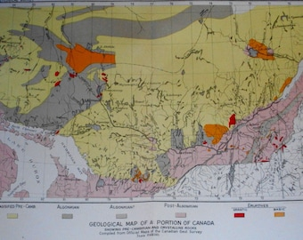 1892 Ontario and Quebec Geological Map. Pre-Cambrian & Crystalline Rocks. Antique Original Lithograph by Sackett-Wilhelm Lithography.