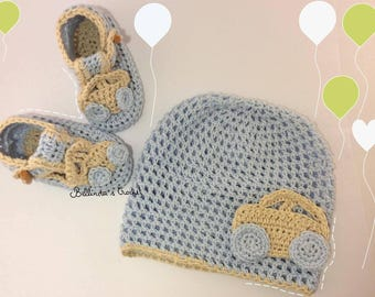 set baby blue and beige with small cars