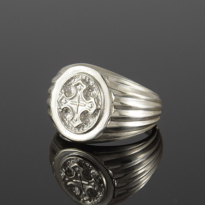 Celtic ring Man ring Silver ring man Cross ring Signet