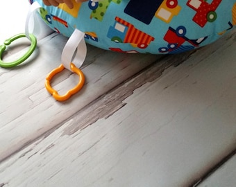 Organic Tummy Time Support Pillow, Digger Trucks