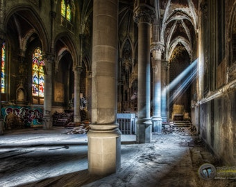 Ray of Hope Fine Art  Photographic  Print Abandoned Pittsburgh Church