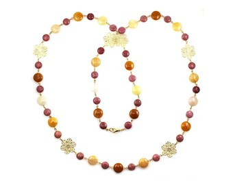 NEW Pink Long Necklace, Yellow Long Necklace, Flower Necklace, Floral Necklace, Flower Jewelry, Floral Jewelry, Golden Jade Jewelry, Flowers