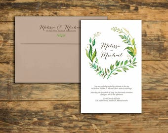 Save The Date - Watercolor Leaves - Watercolor Leaves Design - Leaf Painting - Watercolor - Organic Invites - Botanical Theme - Wreath