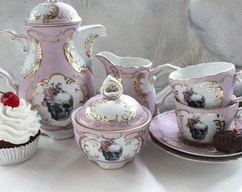 7-Piece Skull Tea Set, Pink & Gold Customized Tea Set, Skull Flower Skeleton, Halloween Teacup, Sugar, Creamer, Design Your Own Tea Party
