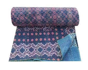 Reversible Hand Block Print Handmade Kantha Quilt Queen Size Kantha Blanket Indian Cotton Kantha Bedspread Natural Color Kantha Throw