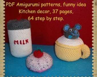 PDF Amigurumi Crochet Pattern Step by Step Photo Tutorial,  bottles of milk,  cupcake, Cup of milk, Funny Playing Toys Mice , Kitchen decor.