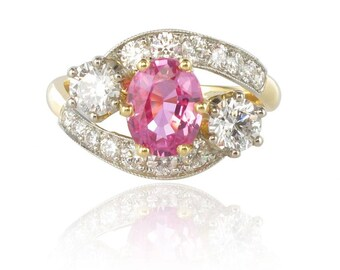 Gold Pink Sapphire diamond ring Platinum