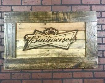 Budweiser Logo Reclaimed Pallet Wood Burnt Sign