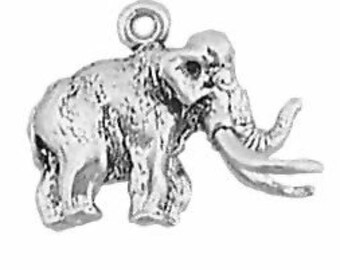Wooly Mammoth Charm Sterling Silver Pendant 3D Elephant Dinosaur
