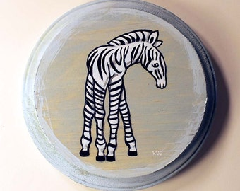 Zebra Painting - Original Small Wall Art Acrylic Baby Animal Painting on Wood by Karen Watkins - 5x5 Inches - Zebra Home Decor