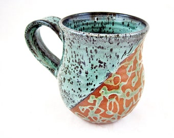 Handmade pottery mug, ceramic mug 14 oz. mug - In stock